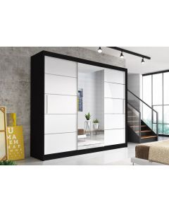 Firenze250 tolóajtós, tükrös, gardróbszekrény fekete-fehér