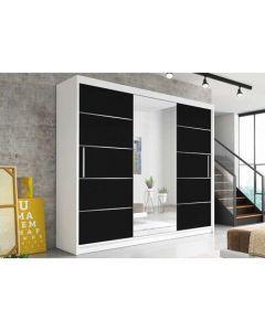 Firenze250 tolóajtós, tükrös, gardróbszekrény fehér-fekete