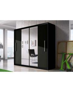 Firenze204 tolóajtós, tükrös, gardróbszekrény fekete-fekete