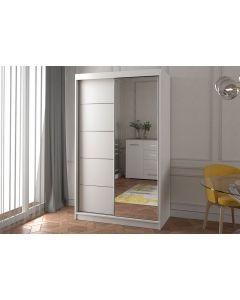 Firenze120 tolóajtós, tükrös, gardróbszekrény fehér-fehér