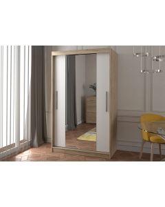 Firenze120 M2 tolóajtós, tükrös, gardróbszekrény tölgy-fehér