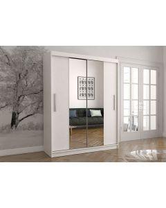 Firenze150 tolóajtós, tükrös gardróbszekrény fehér-fehér