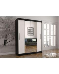 Firenze150 tolóajtós, tükrös gardróbszekrény fekete-fehér