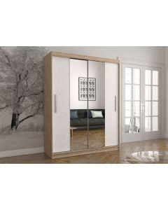 Firenze150 tolóajtós, tükrös gardróbszekrény tölgy-fehér