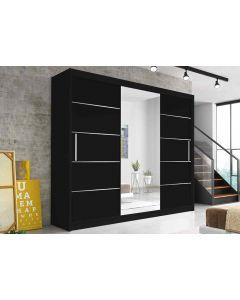 Firenze250 tolóajtós, tükrös, gardróbszekrény fekete-fekete