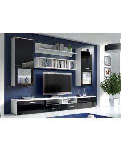 Foggia, modern vonalvezetésű nappali bútor fehér-fekete
